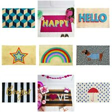 Doormat - Non Slip Heavy Duty - Coir - Rubber Backing - Rainbow - Hello - Star