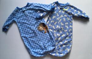 Baby Boy 0-9 months OS Carter's Zip Fleece Sleep Sack Wearable Blanket 2pc Lot