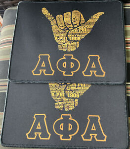 """ALPHA PHI ALPHA Mouse Pad Mat Gold and Black 2~pack 9.5"""" x 7.9"""" (New Other)"""