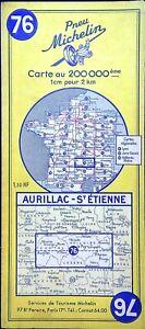 Ancienne carte Routière Michelin collector - 200 000é - AURILLAC-St-ETIENNE