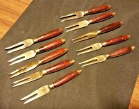 Set of 10 Antique Brass & Wood Cocktail Appetizer Two Tine Serving Forks