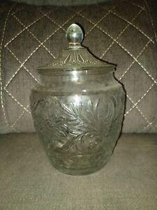 Vintage 1960s Anchor Hocking Crystal Sandwich Glass Cookie Jar
