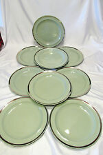Wedgwood England 4W32 Celadon Green 9 Dinner or Luncheon Plates Platinum Band