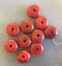 Vintage Italian Deep Red w Black Chunky Glass Coral Saucer Disc Bead Lot
