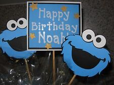 Sesame Street Cookie Monster Birthday centerpiece / cake toppers PERSONALIZED!