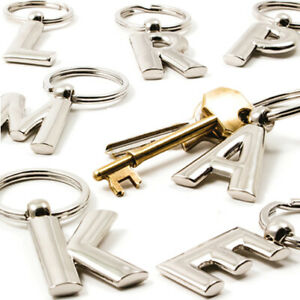 ALPHABET METAL KEYRING Initial Letter Name Chain Charm Fob Home Birthday Gift