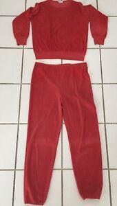 Vintage 70s Bill Blass Red Velour Women's Sweatsuit Sz Medium Pants + Sweatshirt