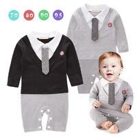 Baby Boy Formal Tuxedo One-Piece Romper Suit REAL TIE Long Sleeve SIZE 00.0.2