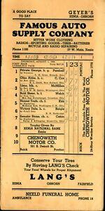 1946 Harness Horse Racing Program Xenia Ohio County Fair Doc Parshall & Riegle