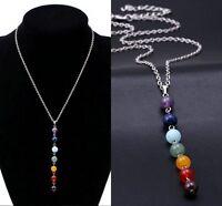 7 Chakra Crystal Quartz Stone Beads Pendant Yoga Reiki Healing Necklace Jewelry