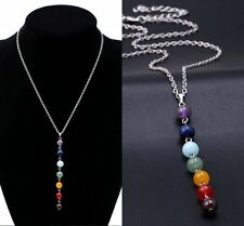 7 Chakra Crystal Quartz Stone Beads Pendant Yoga Reiki Healing Necklace