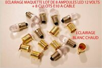 JOUEF LIMA LOT 8 AMPOULE LED E-10 BLANC CHAUD 12 VOLT + 8 CULOT A CABLE HO 1/87