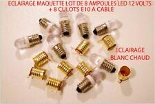 JOUEF LIMA LOT 8 AMPOULE LED E-10 BLANC CHAUD 12 VOLT + 8 CULOT A CABLE HO 1/87