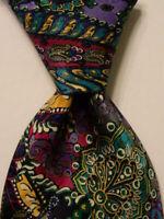 BRIONI Mens 100% Silk XL Necktie ITALY Luxury Designer Geometric Multi-Color EUC