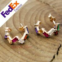Rose Gold 925 Sterling Silver Multi Color baguette CZ Stone Turkish Lady Earring