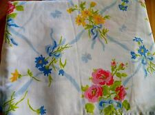 2 Vintage PEQUOT Twin Bed Flat Sheets Cotton/Poly Lovely Ribbon & Floral Pattern
