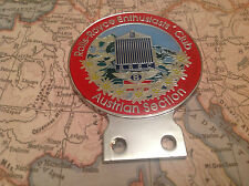 ENAMEL AUSTRIAN AUTOMOBILE CAR CLUB BADGE # ROLLS ROYCE ENTHUSIASTS CLUB OWNERS