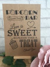 Sweet Table Cart Candy Bar Popcorn Sign Kraft Card RusticNot Personalised Print