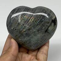 "249.7g,2.7""x3.1""x1.2"" Natural Labradorite Heart Polished Healing Crystal,B4465"