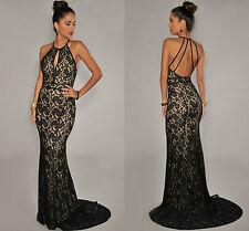 Ladies Halter neck Black Lace Nude Illusion Open Back Evening Party Gown size 16
