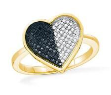 10K Yellow Gold Black & White Diamond Heart Shaped Ring .25ct - Micro-Pave Set