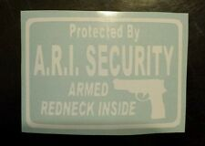 Vinyl Decal Sticker..Protected By Armed Redneck..Funny..Gun Rights..Car Window