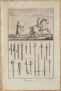 ARMURIER DIDEROT ET D'ALEMBERT ENCYCLOPEDIE CAVALIERI SPADE ARMI SWORDS 1770