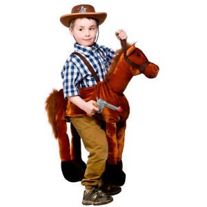 Cowboy Brown Horse Costume Ride On Animal Horsey Child Fancy Dress Outfit
