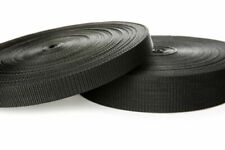20mm 25mm & 50mm POLYPROPYLENE WEBBING STRAPPING BAGS STRAPS WEAVE LEADS- BLACK