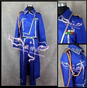 Fullmetal Alchemist blue cloak coat Cosplay Roy Mustang Uniform Costume Custom