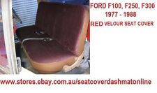 PLAIN RED VELOUR SEAT COVER FIT FORD F100,F250,F350 1977 - 1988, 3 SEATER