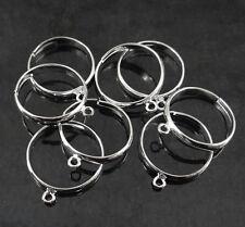 8 supports bague réglable 16 mm 1 anneaux en métal argenté,fimo,femoir,-br029