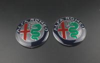 2x74mm Argento Verde Alfa Romeo Davanti Cappuccio Cofano Emblemi Badge Loghi