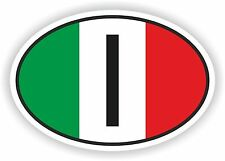 OVAL ITALIAN FLAG WITH I COUNTRY CODE STICKER ITALY AUTO MOTO TRUCK LAPTOP