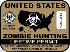 United States Zombie Hunting Permit sticker - outbreak response team decal BROWN