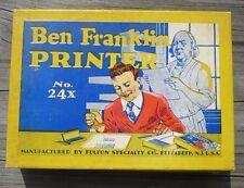 Art Stamps & Letters Kit Ben Franklin Printer Set No 24X Contents Vintage in Box