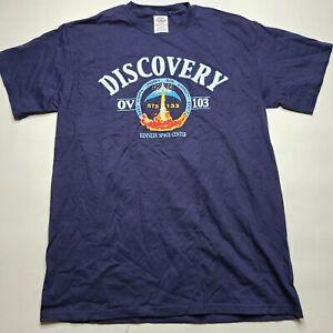 Kennedy Space Center Discovery T Shirt Men's MEDIUM M Blue Florida Trip Shuttle