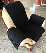Housse de Fauteuil Anthracite, Coussin chaise, jeté , laine mérinos avec poches