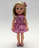 14.5 Inch Doll Clothes - Pink Sequin Dress with Purse and Hairbow
