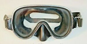 TEMPERED VINTAGE DIVING SNORKELING US DIVERS MASK TECHNISUB ITALY SPIROTECHNIQUE
