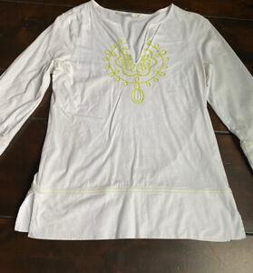 ATHLETA Cotton Women's Medium White Boho Embroidery Shirt 3/4 Sleeve