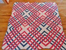 Antique Patchwork Quilt  Red, White, Blue CARPENTERS SQUARE Pattern Ca 1880 VGC