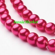 50 x glass beads fuchsia pink imitation pearl loose spacer 8mm jewellery crafts