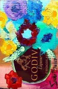 FLOWERS PAINTING original SWARTZMILLER DNA SIGNED Pop ART Outsider UPCYCLED VASE