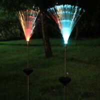 2x Solar Power Color Change Fiber Lights LED Garden Lawn Lamp Outdoor Yard