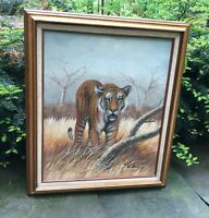 "Original Bengal Tiger Oil on Canvas Painting by ""Watson"" Wood Frame 29"" x 25"""