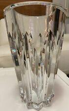 "LARGE 10"" Signed BACCARAT France Crystal Clear Faceted Art Glass Vase"