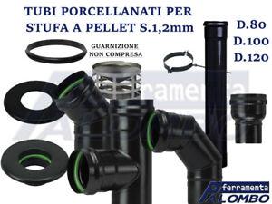 TUBO STUFA A PELLET PORCELLANATO S.1,2mm D.8-10-12cm SERIE PESANTE GOMITO ROSONE