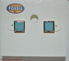 Fossil Brand Square Rose Gold-tone Turquoise Stud Fashion Earrings JOA00073 $28