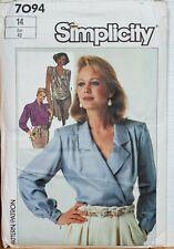 Simplicity Sewing Pattern Wrap Blouses Size 14 Ladies 7094 1980s Vintage Uncut